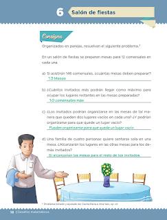 Respuestas Apoyo Primaria Desafíos matemáticos 5to grado Bloque I lección 6 Salón de fiestas