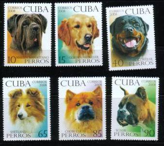 2008年キューバ共和国 ナポリタン・マスティフ ゴールデン ロットワイラー シェルティ チャウ・チャウ ボクサーの切手