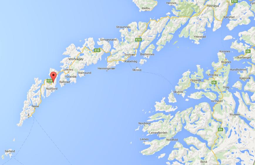 Mapa de Google de Islas Lofoten