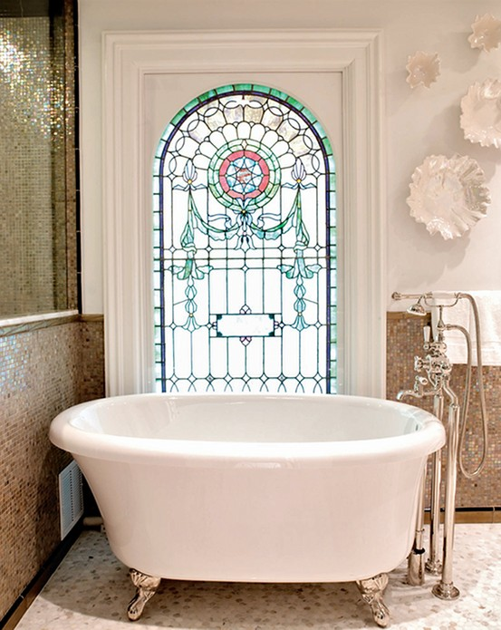 in this bathroom by switching them out for stained glass windows