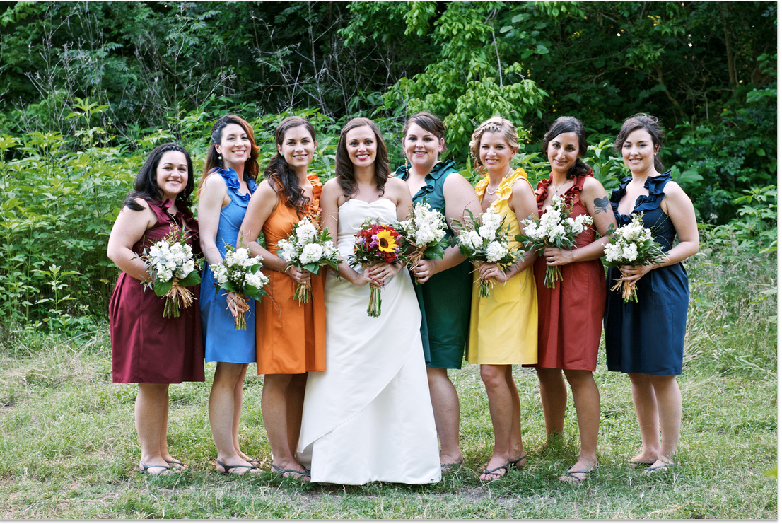 Independent designer real wedding 7 bridesmaids dresses colors absolutely love the photos from meghans may 2012 outdoor wedding in austin texas each of her bridesmaids wore a different color dress in the lamour ombrellifo Gallery