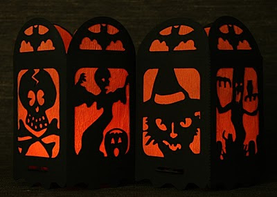 Halloween vintage style black and orange lanterns by artist Robert Aaron Wiley