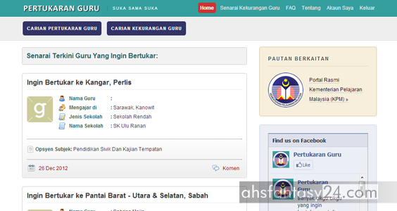 Pertukaran, Guru, Suka, Sama, Online, 2013