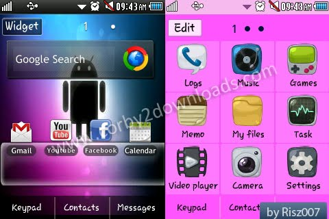 Samsung Corby 2 Theme: Android Pink by Risz007 | Corby 2 Downloads
