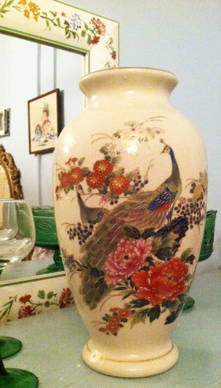 Lady janes treasure trove sold vintage japanese peacock vase 15 sold this very pretty vintage japanese vase stands 11 tall and features two peacocks within a floral setting i can identify chrysanthemums and reviewsmspy