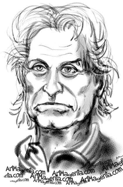 Michael Douglas caricature cartoon. Portrait drawing by caricaturist Artmagenta