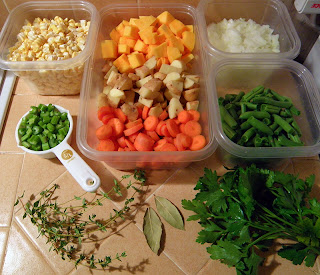 Assorted Veggie and Herb Chowder Ingredients