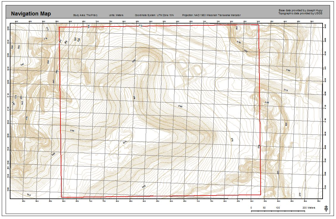figure 2 navigation map with 2 and 5 foot contours