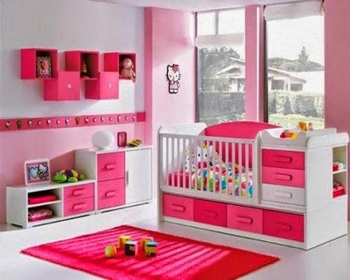 Dormitorios de beb con paredes rosa colores en casa - Color paredes habitacion bebe ...