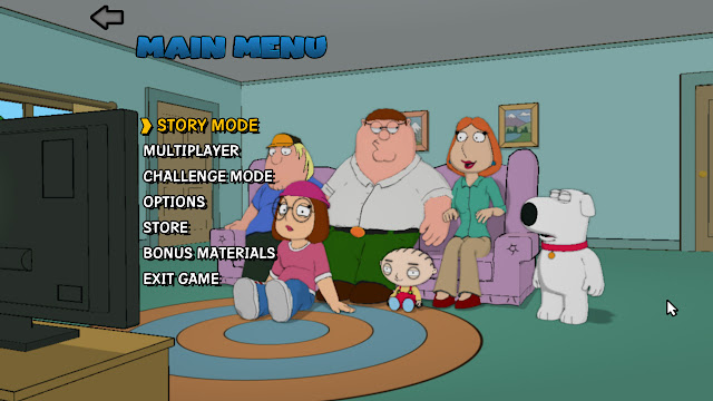 Family Guy back to the multiverse main menu screenshot