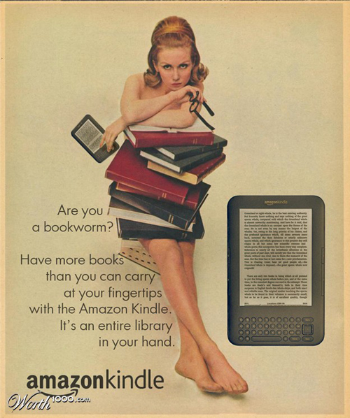 anúncios vintage - produtos modernos - Amazon kindle