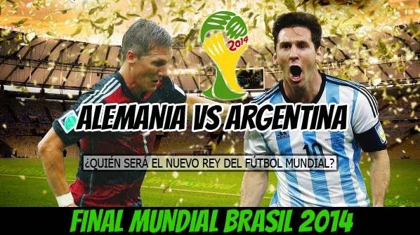 Argentina vs Alemania En Vivo, Munuto a Minuto Final del Mundial Brasil 2014
