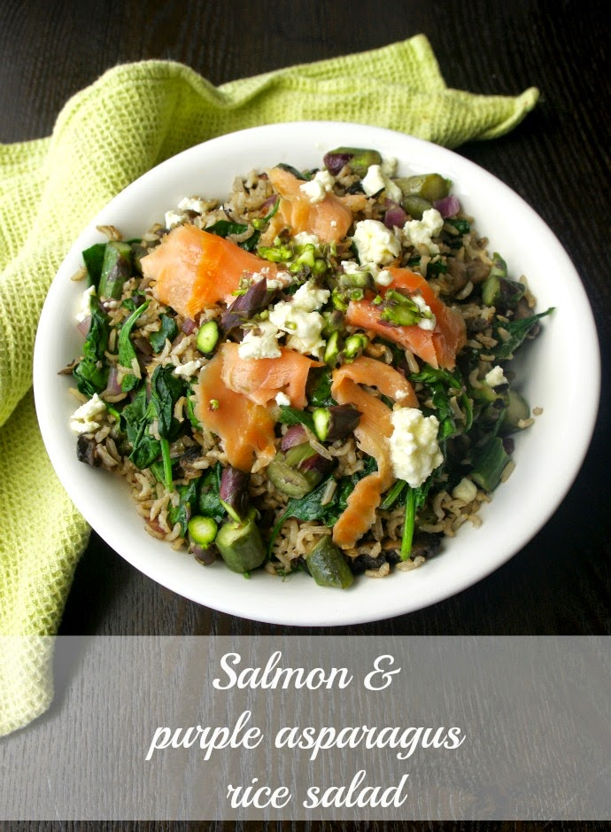 Salmon and purple asparagus rice salad