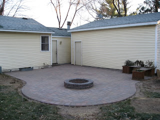 A fire pit deck
