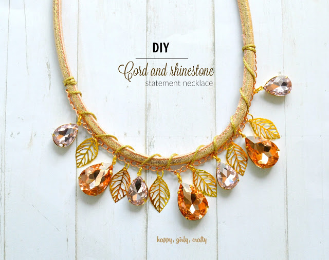 cord and rhinestone fall necklace!