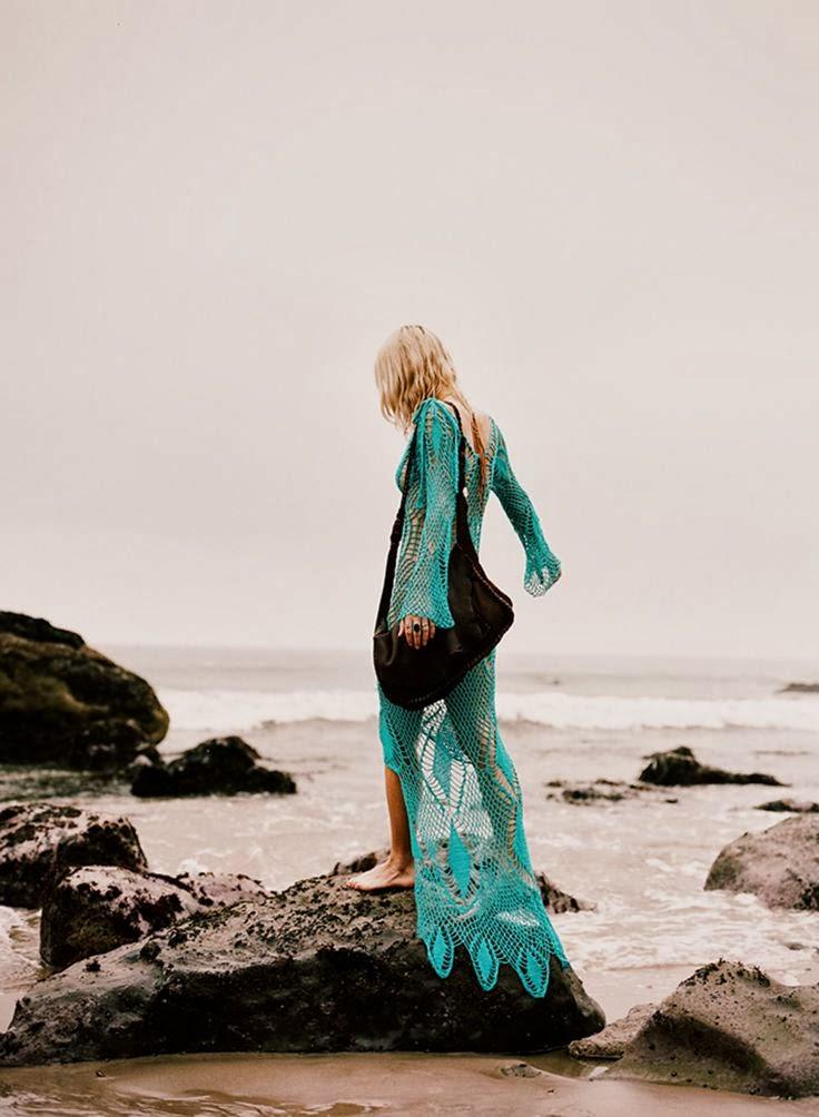Maxi Turquoise Crochet Dress