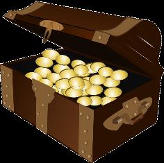 monete d'oro in uno scrigno