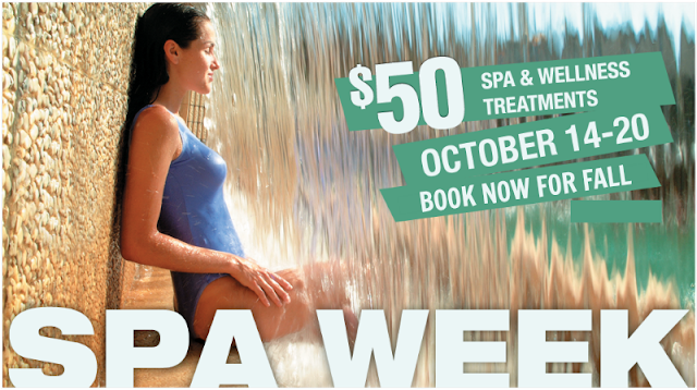 Fall National Spa Week Oct 14 - 20 $50 spa and wellness treatments