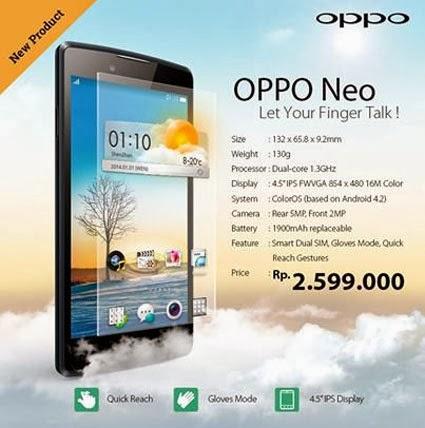 Spesifikasi Harga Oppo Neo