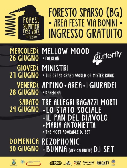 Concerti gratis sabato 29 e domenica 30 giugno per il Forest Summer Fest 2013 a Foresto Sparso (BG)