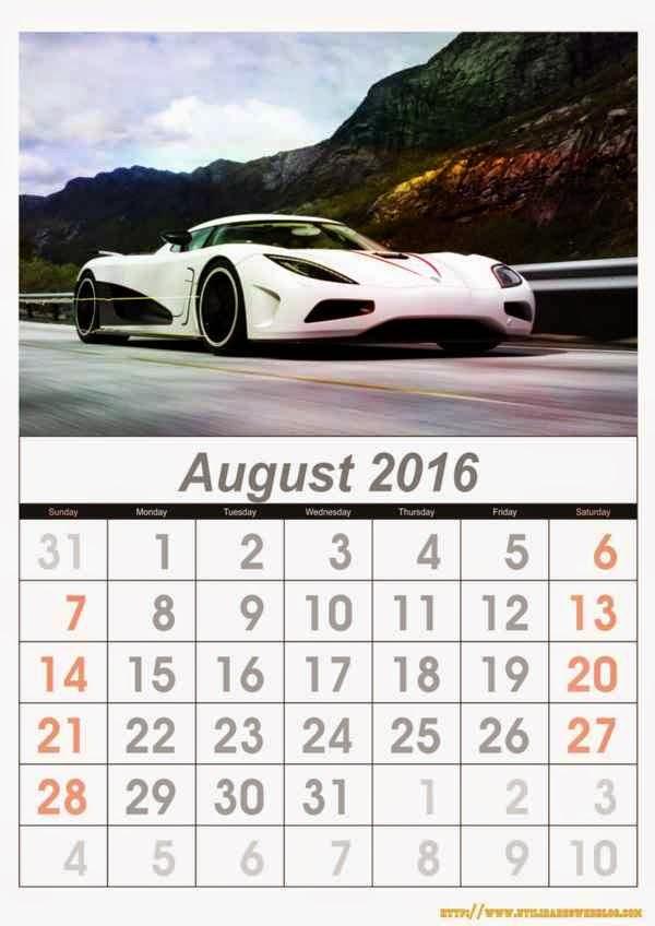 calendario de autos mes de agosto año 2016 listos para imprimir