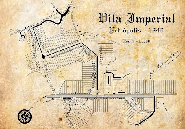 Projeto da planta de Petrópolis apresentado pelo Major Koeler em 1846