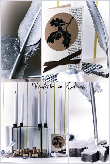 Fotocollage lackierte Feder DIY Herbstpost und Häkelkürbis Kerzenständer Square
