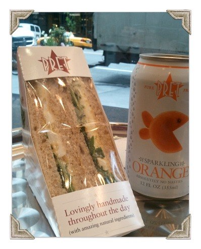 nyc pret a manger egg salad with arugula sandwich sparkling orange juice no nasties