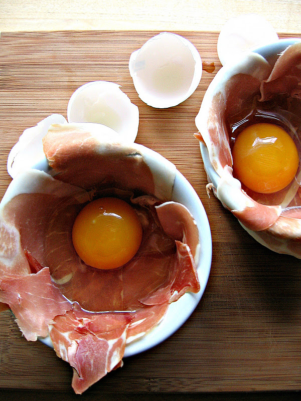 sweetsugarbean: Fresh Start: Baked Eggs with Prosciutto and Parmesan