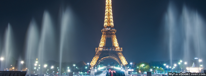 Eiffel Tower At Night Photography Facebook Cover
