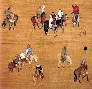 Kublai Kan en una expedición de caza - Liu Guandao, c. 1280