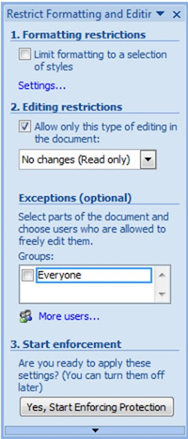 word editing restrictions