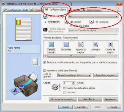 page setup canon printers