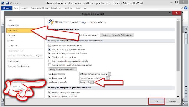 opção Verificação mivrosoft office word