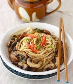 easy mushroom noodle recipe with ginger or galangal herbs
