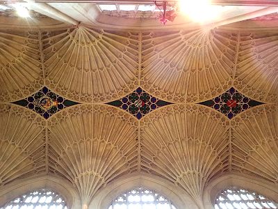 Stone tracery in the roof of Bath Abbey