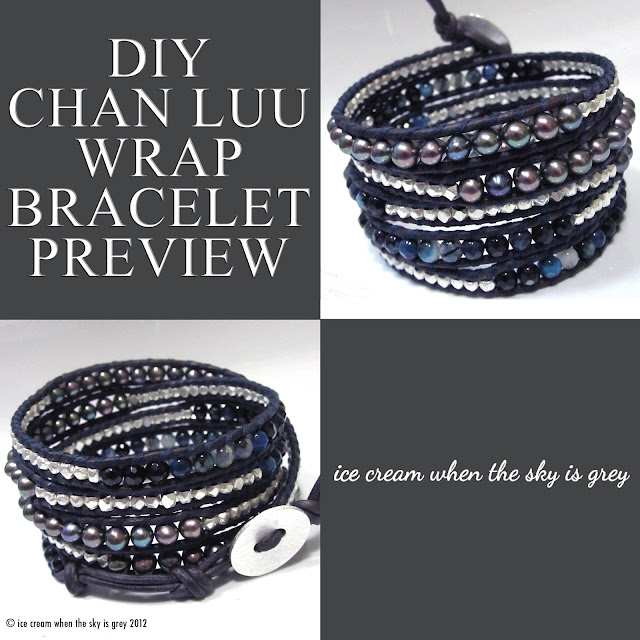 DIY Chan Luu 5 Wrap Bracelet (Women's Style) Dark Blue Fire Agate Mix Wrap Bracelet On Natural Dark Blue Leather
