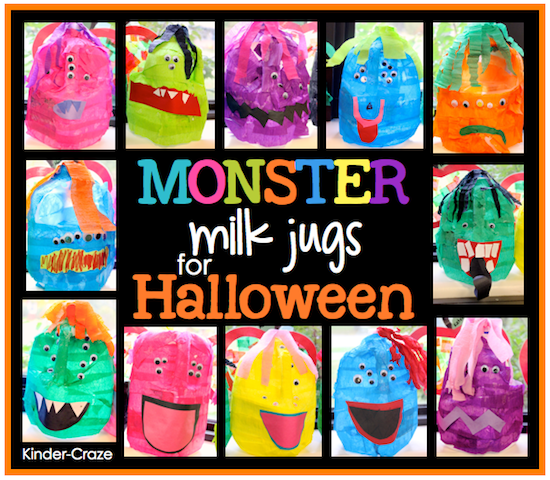 monster milk jugs for halloween treats