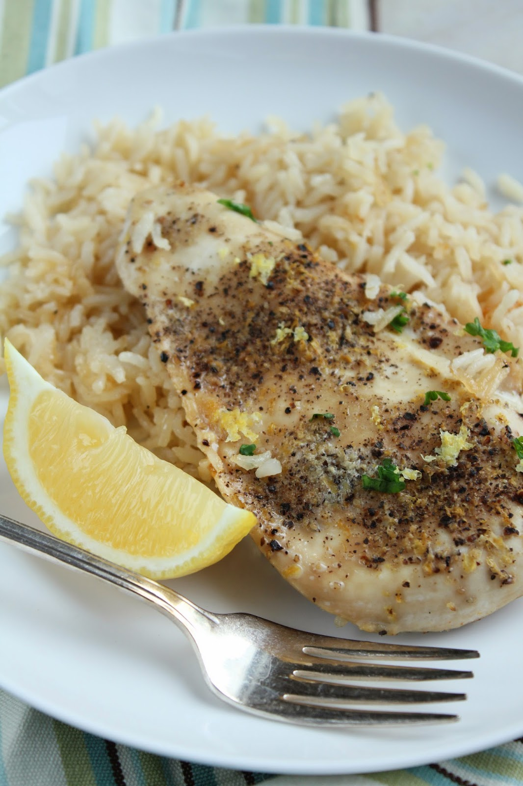 Baked Lemon Pepper Chicken & Rice {low-FODMAP, gluten-free, dairy-free}  /  Delicious as it Looks