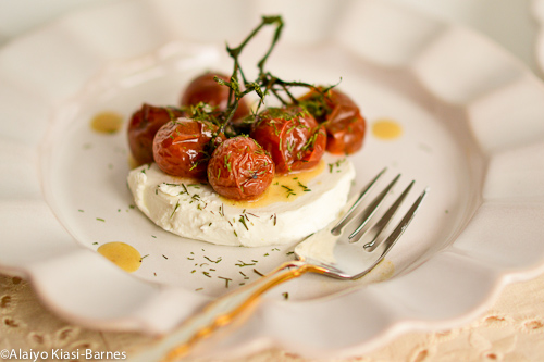 Grilled Cherry Tomatoes on Vine with Goat Cheese and Dill--Pescetarian Journal