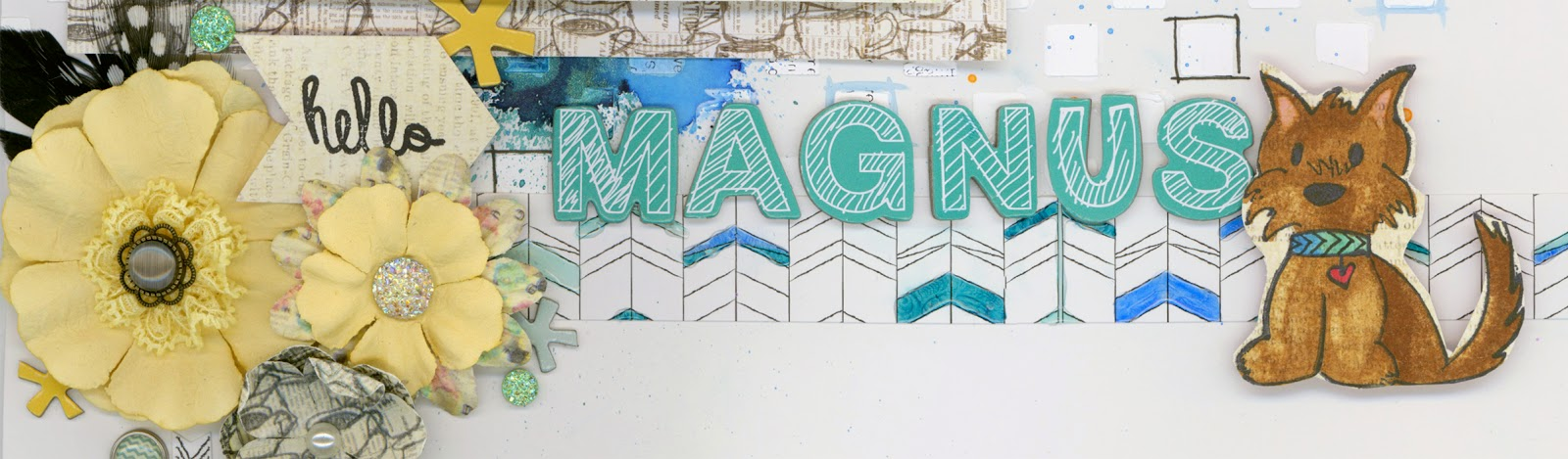 Hello Magnus, The Mortal Instruments, scrapbooking, paper crafting, scrapbook, pet, dog, Morkie, Maltese, Yorkie, stamping, Prima Marketing, Studio Calico, Ranger Ink, American Crafts, Alice Scraps Wonderland, Glitz Design, stickers, brads, flowers