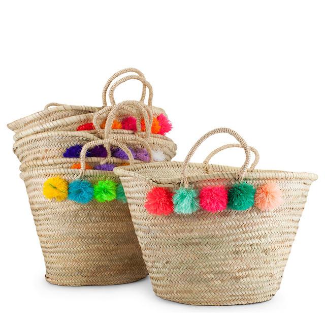 eliza gran pom pom basket beach bags furbish studio