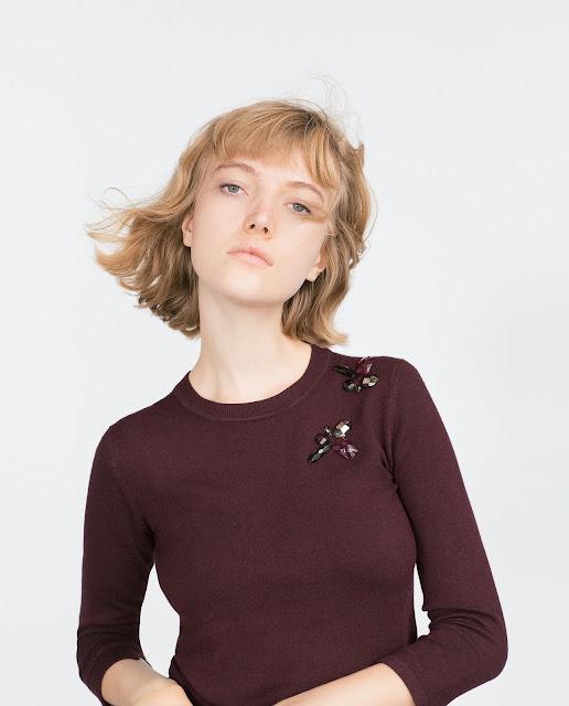 zara burgundy jumper, burgundy jewel jumper, fly logo jumper,