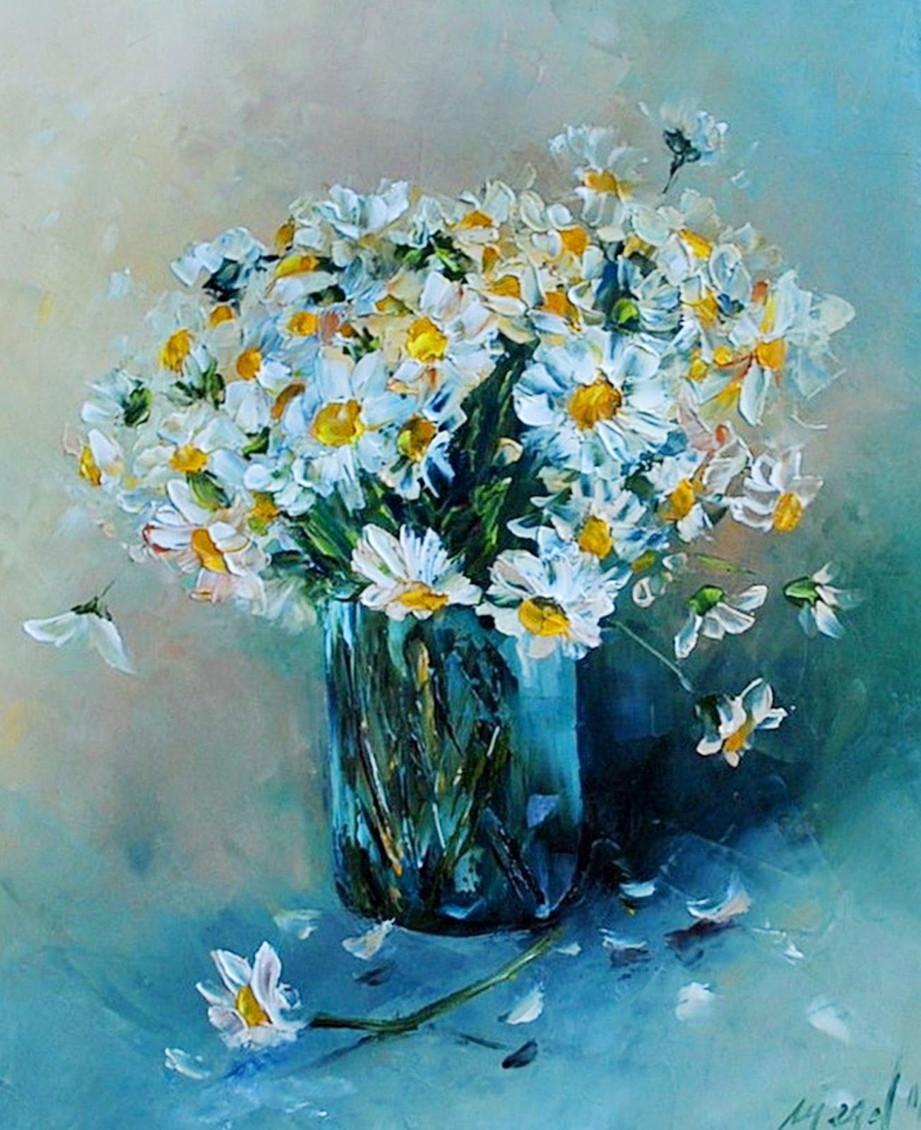 Cuadros pinturas oleos pintura moderna al leo flores - Cuadros flores modernas ...