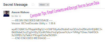 Computer Tips: Email Contents and Encrypt Text to Secure Data