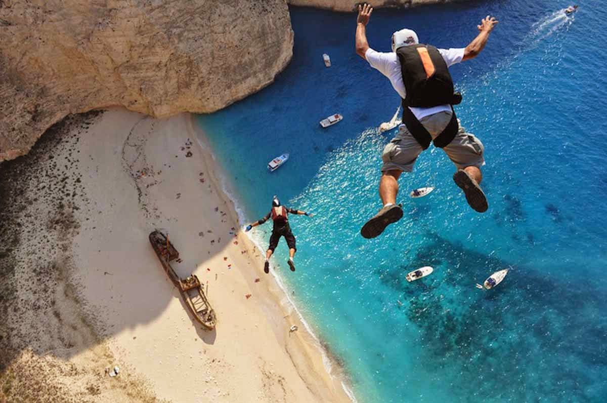Hubert Schober and Kedley Oliveti take the plunge in Zakynthos, Greece