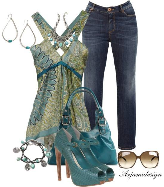 Sleeveless gown, jeans, high heel sandals and sunglasses for ladies