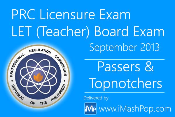 List of LET Passers September 2013 Teachers Secondary board exam