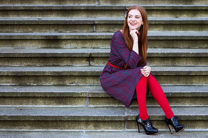 Retro style fashion blogger outfit with red tights and button up dress by Who's That Girl