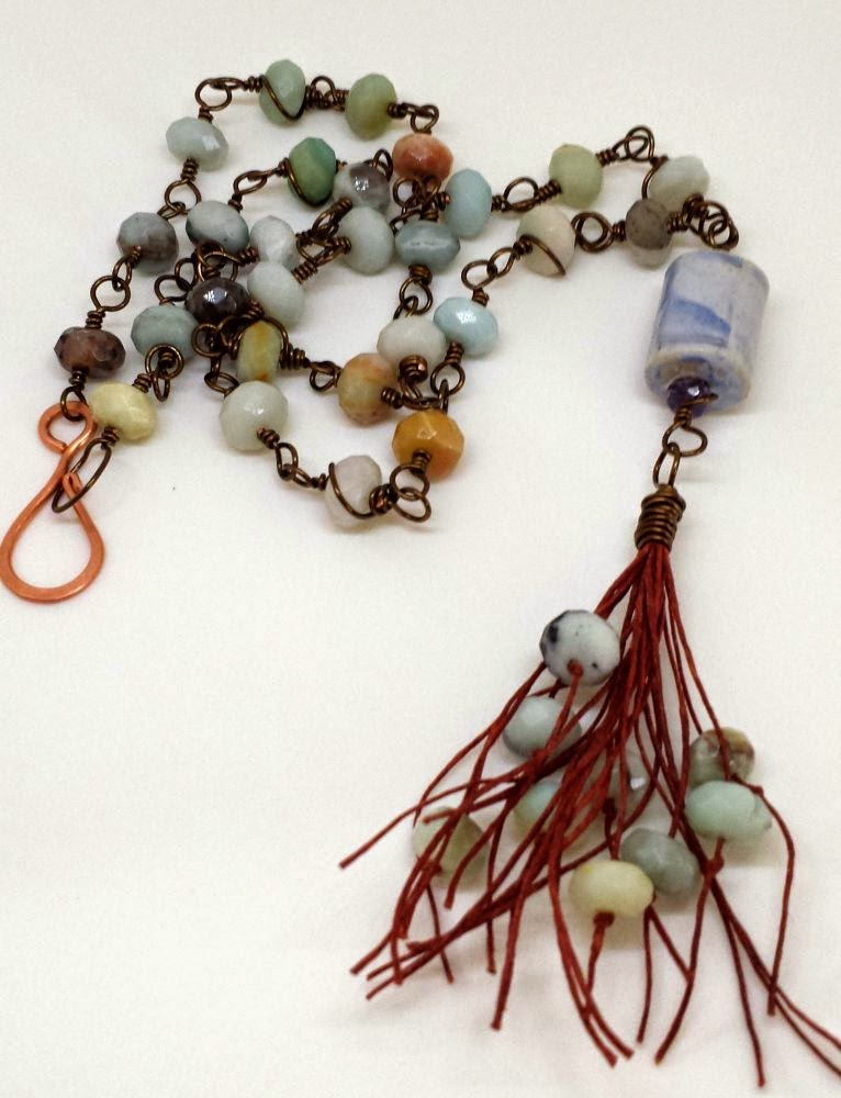 Beed Peeps Swap 'n Hop ~ ceramic, amazonite, tassel, wire wrapping, copper, ooak necklace :: All Pretty Things